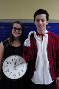 Staff writers Olivia Madderom and Grayson Bohelender dress as Captain Hook and a clock.