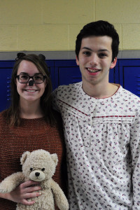 Staff writers Olivia Madderom and Grayson Bohlender dress as Michael and his teddy bear.