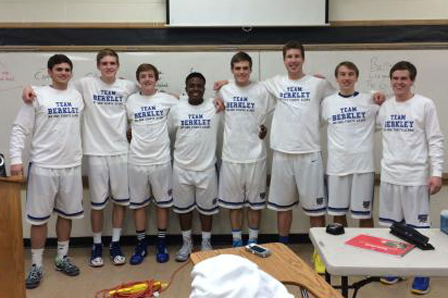 At the Homecoming basketball game, the varsity boys showed their support for Berkley.