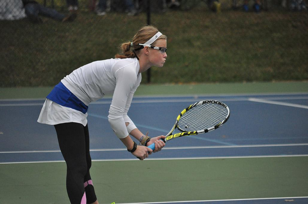 Sophomore Anna Vialle stands ready at the Regionals tennis meet on Oct. 9. Vialle went on to place first in singles.