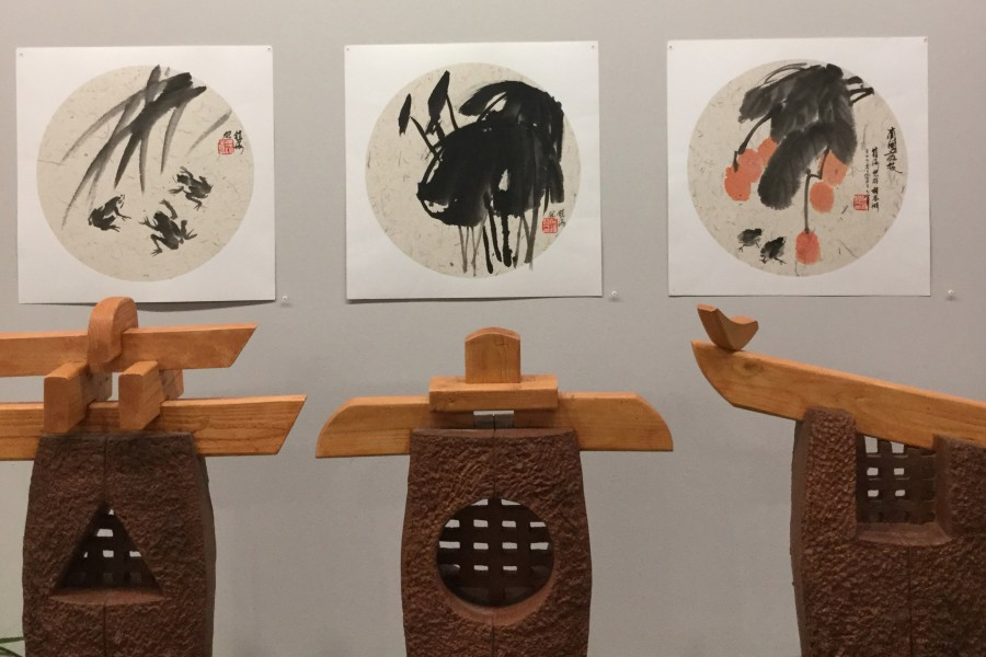 Chinese ink wash paintings were on display during First Fridays at the Crossroads.