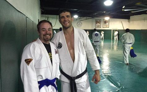Owens and Jiu Jitsu instructor Renner Gracie training in Los Angeles, California.