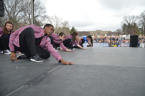Dancers from the Kansas City Conservatory dance on stage at the March for our Lives on Saturday, March 24.